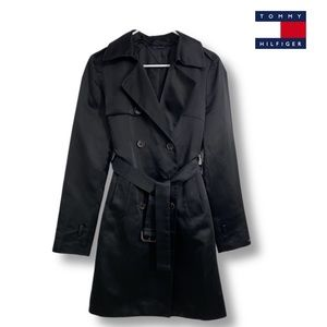 Tommy Hilfiger Black Double Breasted Trench Coat S